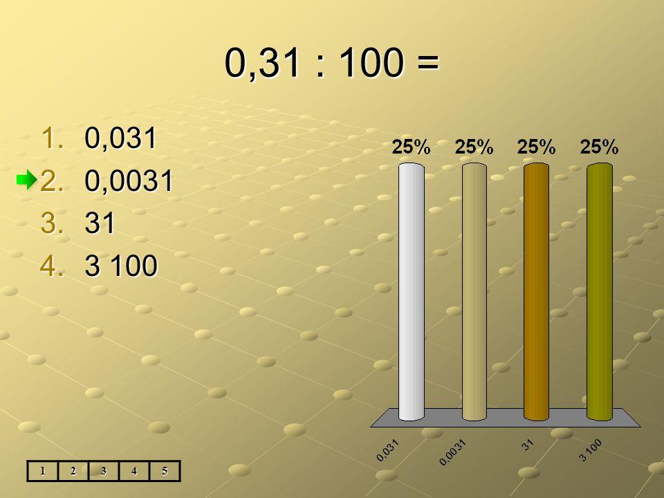 0,31 : 100 = 12345 1.0,031 2.0,0031 3.31 4.3 100