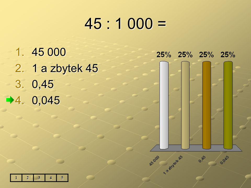 45 : 1 000 = 1.45 000 2.1 a zbytek 45 3.0,45 4.0,045 12345