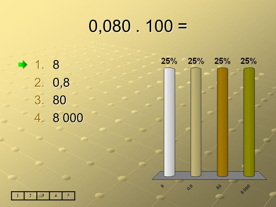 0,080. 100 = 1.8 2.0,8 3.80 4.8 000 12345