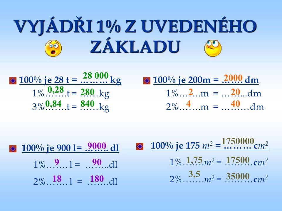 VYJÁDŘI 1% Z UVEDENÉHO ZÁKLADU 100% je 28 t = ……… kg 1%…….t = ……kg 3%…….t = ……kg 100% je 200m = ……. dm 1%…….m = ……...dm 2%…….m = ………dm 100% je 900 l=