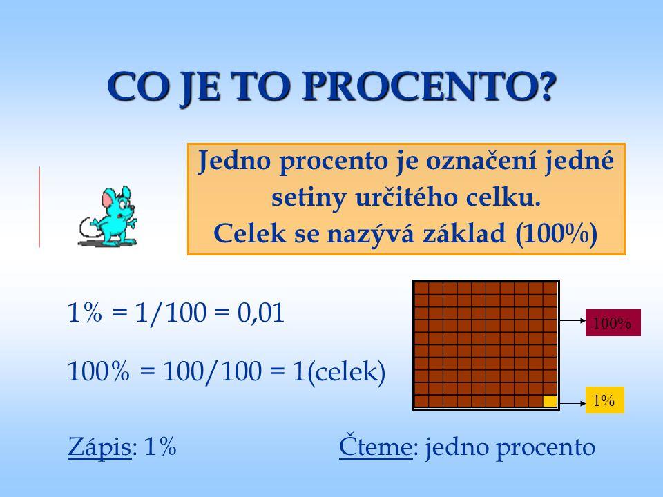 CO JE TO PROCENTO? Jedno procento je označení jedné setiny určitého celku. Celek se nazývá základ (100%) 1% = 1/100 = 0,01 100% = 100/100 = 1(celek) 1