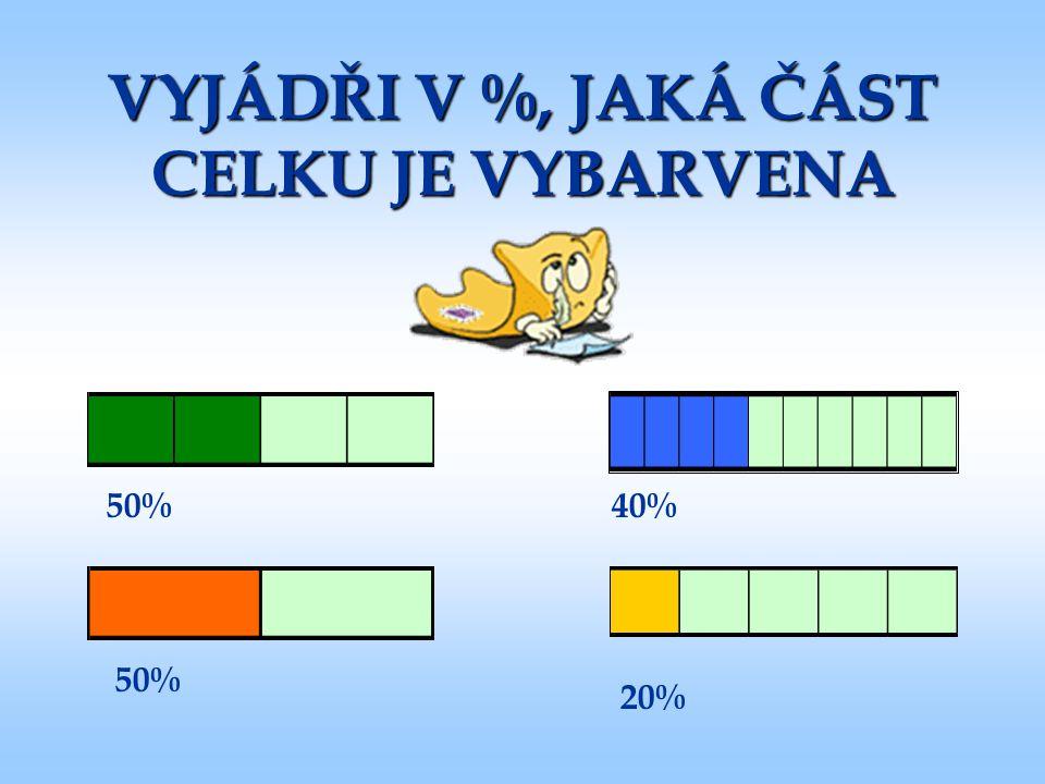 VYJÁDŘI V %, JAKÁ ČÁST CELKU JE VYBARVENA 50% 40% 20%