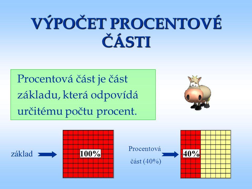 100% VÝPOČET PROCENTOVÉ ČÁSTI Procentová část je část základu, která odpovídá určitému počtu procent. 40%základ Procentová část (40%)