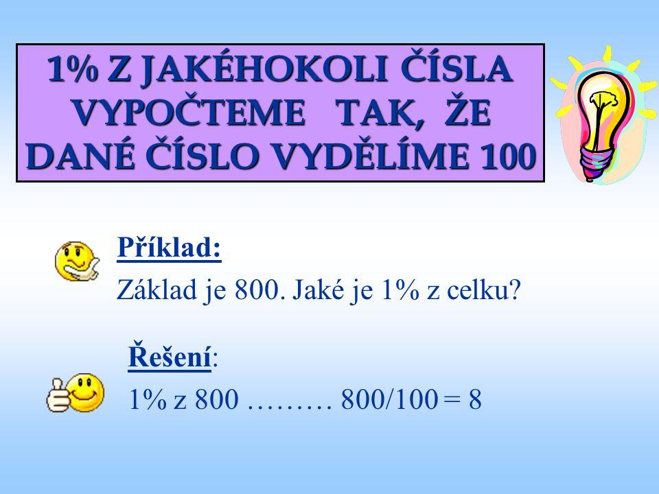 1% Z JAKÉHOKOLI ČÍSLA VYPOČTEME TAK, ŽE DANÉ ČÍSLO VYDĚLÍME 100 Příklad: Základ je 800. Jaké je 1% z celku? Řešení: 1% z 800 ……… 800/100 = 8