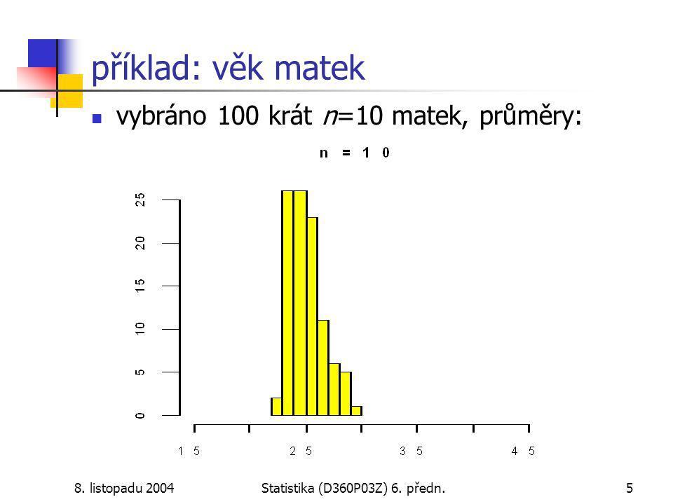 8. listopadu 2004Statistika (D360P03Z) 6. předn.5 příklad: věk matek vybráno 100 krát n=10 matek, průměry: