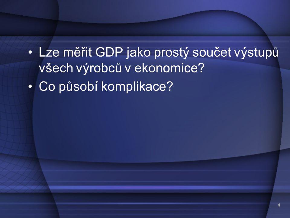 4 Lze měřit GDP jako prostý součet výstupů všech výrobců v ekonomice? Co působí komplikace?
