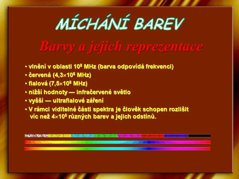 vlnění v oblasti 10 8 MHz (barva odpovídá frekvenci) vlnění v oblasti 10 8 MHz (barva odpovídá frekvenci) červená (4,3  10 8 MHz) červená (4,3  10 8 MHz) fialová (7,5  10 8 MHz) fialová (7,5  10 8 MHz) nižší hodnoty — infračervené světlo nižší hodnoty — infračervené světlo vyšší — ultrafialové záření vyšší — ultrafialové záření V rámci viditelné části spektra je člověk schopen rozlišit víc než 4  10 5 různých barev a jejich odstínů.