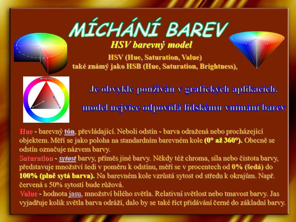 HSV (Hue, Saturation, Value) také známý jako HSB (Hue, Saturation, Brightness), HSV barevný model Hue - barevný tón, převládající.