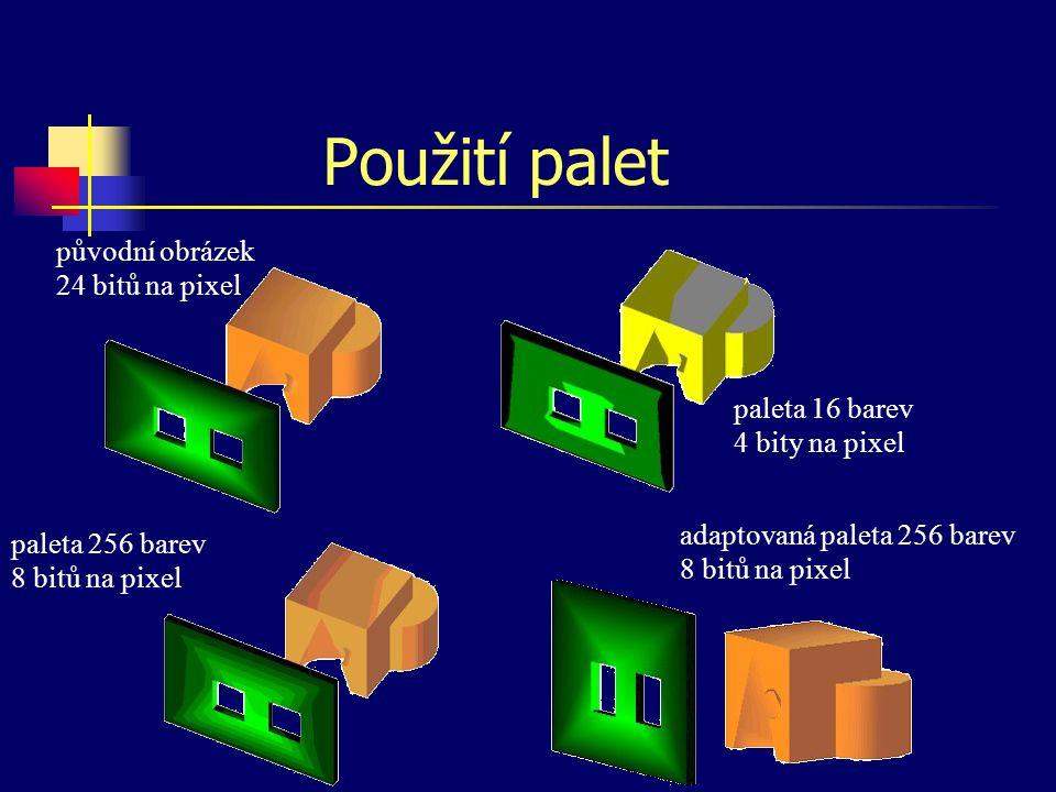 Typy palet 3 – 3 – 2 univerzální paleta (256 barev) 8  Red 84  GreenBlue 7  12  3 7 odstínů červené, 12 zelené a 3 modré (252 barev) adaptovaná ba