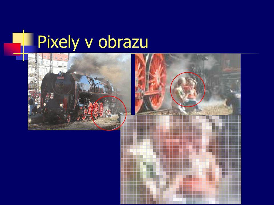 Grafický bod — pixel (pixel = picture element) Fyzický pixel – bod, který používá k zobrazování výstupní zařízení. obrazovka — 3 prvky vysvítí jeden p