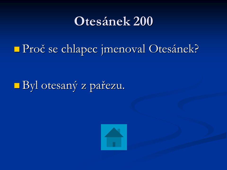 Otesánek 200 Proč se chlapec jmenoval Otesánek? Proč se chlapec jmenoval Otesánek? Byl otesaný z pařezu. Byl otesaný z pařezu.