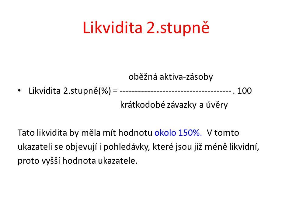 Likvidita 2.stupně oběžná aktiva-zásoby Likvidita 2.stupně(%) = -------------------------------------.