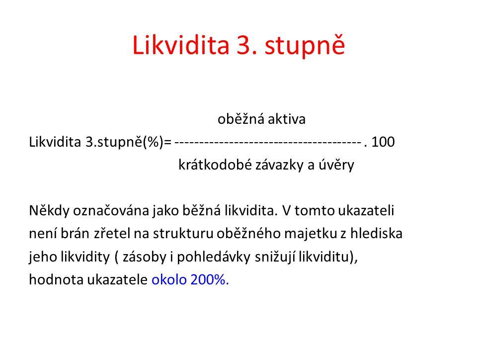Likvidita 3. stupně oběžná aktiva Likvidita 3.stupně(%)= --------------------------------------.