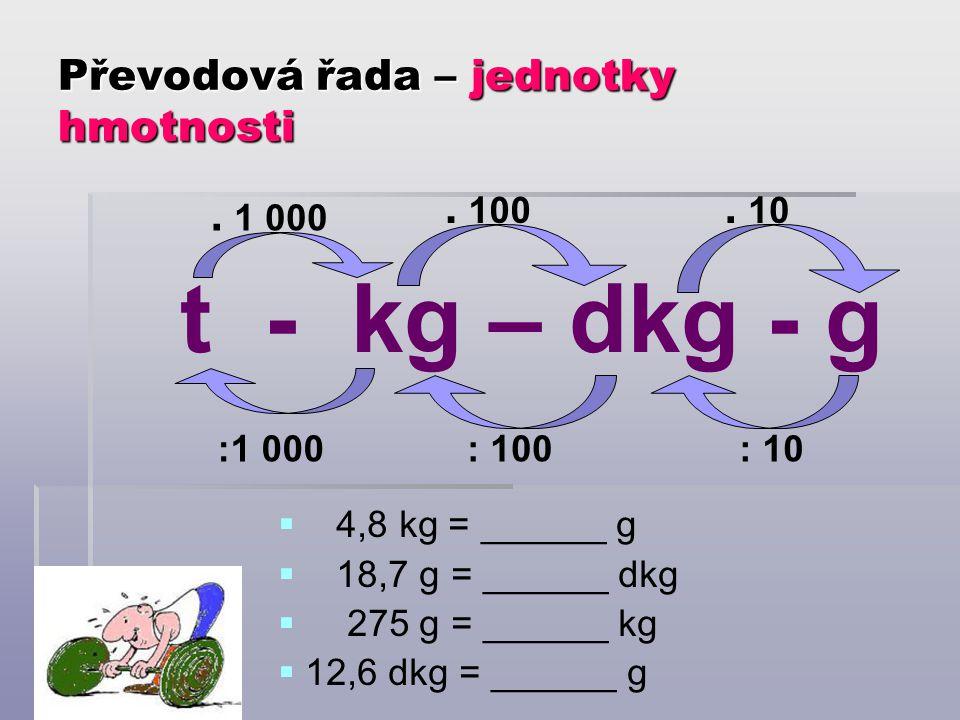 Převodová řada – jednotky hmotnosti t - kg – dkg - g. 100. 10 : 100: 10. 1 000 :1 000  4,8 kg = ______ g  18,7 g = ______ dkg  275 g = ______ kg 