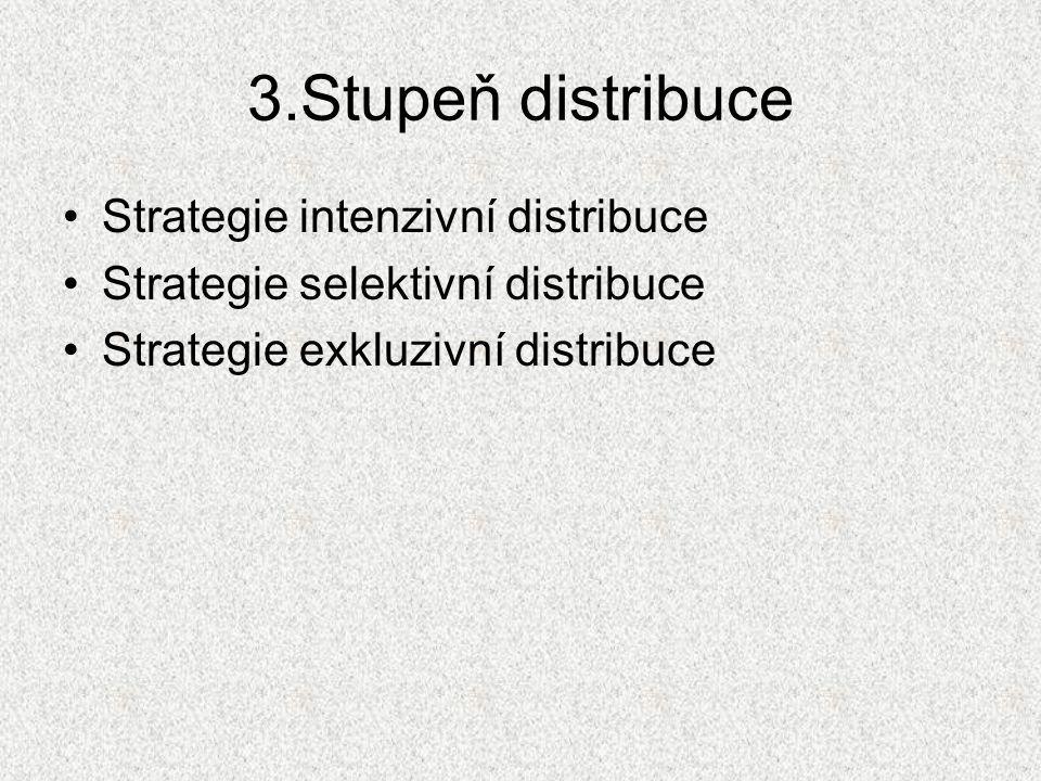 3.Stupeň distribuce Strategie intenzivní distribuce Strategie selektivní distribuce Strategie exkluzivní distribuce
