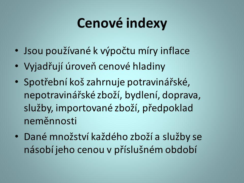 Cenové indexy Jsou používané k výpočtu míry inflace Vyjadřují úroveň cenové hladiny Spotřební koš zahrnuje potravinářské, nepotravinářské zboží, bydle