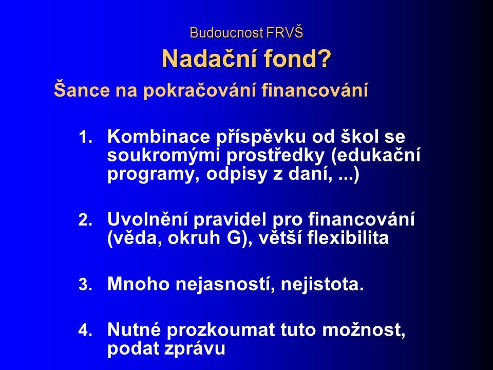 Budoucnost FRVŠ Nadační fond. Šance na pokračování financování 1.