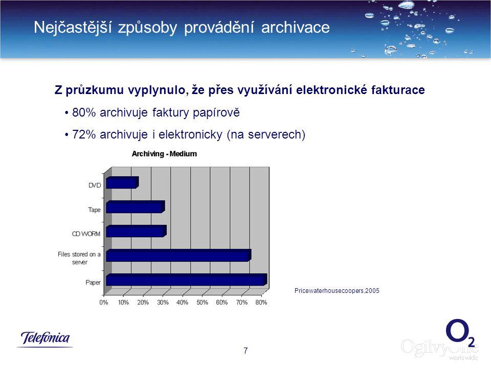 10 Nejčastější způsoby provádění archivace 7 Z průzkumu vyplynulo, že přes využívání elektronické fakturace 80% archivuje faktury papírově 72% archivuje i elektronicky (na serverech) Pricewaterhousecoopers,2005