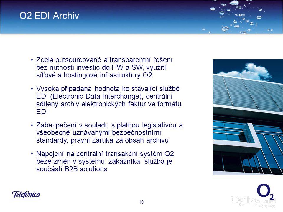 12 O2 EDI Archiv 10 Zcela outsourcované a transparentní řešení bez nutnosti investic do HW a SW, využití síťové a hostingové infrastruktury O2 Vysoká připadaná hodnota ke stávající službě EDI (Electronic Data Interchange), centrální sdílený archiv elektronických faktur ve formátu EDI Zabezpečení v souladu s platnou legislativou a všeobecně uznávanými bezpečnostními standardy, právní záruka za obsah archivu Napojení na centrální transakční systém O2 beze změn v systému zákazníka, služba je součástí B2B solutions