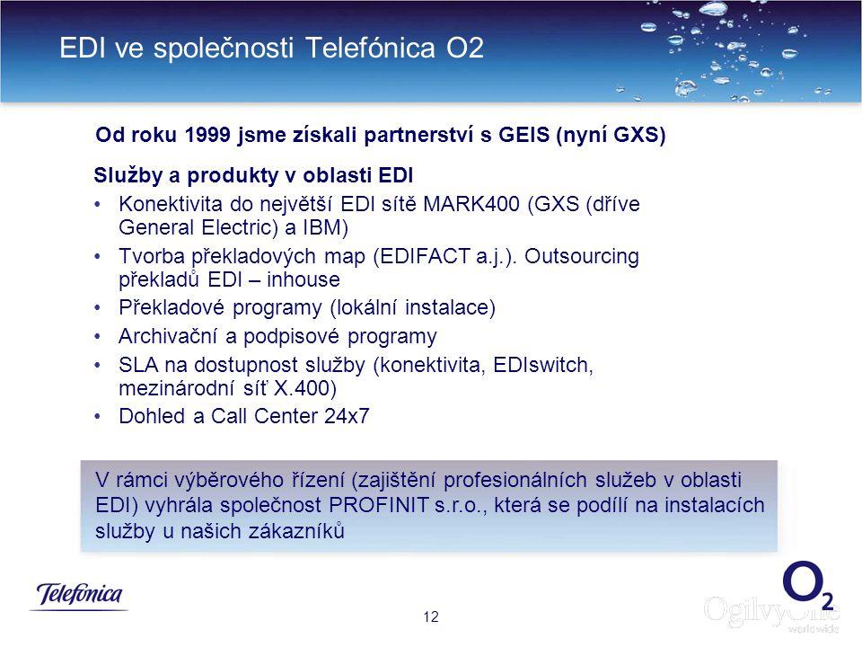 15 EDI ve společnosti Telefónica O2 12 Služby a produkty v oblasti EDI Konektivita do největší EDI sítě MARK400 (GXS (dříve General Electric) a IBM) Tvorba překladových map (EDIFACT a.j.).