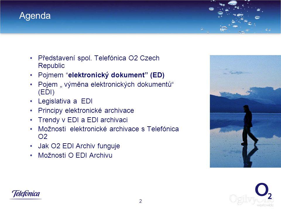 33 Výhody Hostovaného O2 EDI Archivu 30 Elektronická archivace faktur v hostovaném EDIARCHIVu Telefónicy O2 Archivace po zákonem určenou dobu (v současnosti 10 let po ukončení účetního období) Přístup k uschovaným dokumentům dle auditovaného procesu na Read Only nosiči Uživatelské oprávněni jsou omezené na čtení Zabezpečeni dokumentu proti smazání jak na nosiči tak na EDI archivu Hledání dokumentu dle kritérií