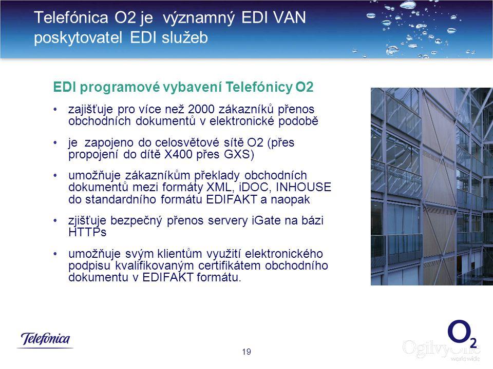22 Telefónica O2 je významný EDI VAN poskytovatel EDI služeb 19 EDI programové vybavení Telefónicy O2 zajišťuje pro více než 2000 zákazníků přenos obchodních dokumentů v elektronické podobě je zapojeno do celosvětové sítě O2 (přes propojení do dítě X400 přes GXS) umožňuje zákazníkům překlady obchodních dokumentů mezi formáty XML, iDOC, INHOUSE do standardního formátu EDIFAKT a naopak zjišťuje bezpečný přenos servery iGate na bázi HTTPs umožňuje svým klientům využití elektronického podpisu kvalifikovaným certifikátem obchodního dokumentu v EDIFAKT formátu.
