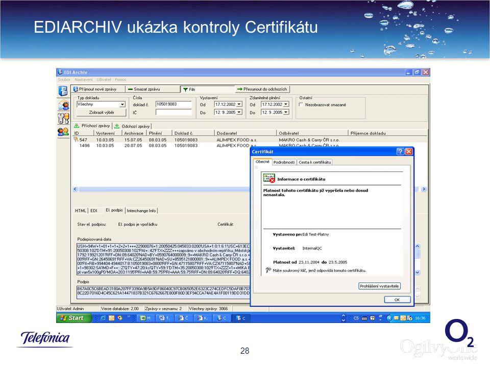 31 EDIARCHIV ukázka kontroly Certifikátu 28