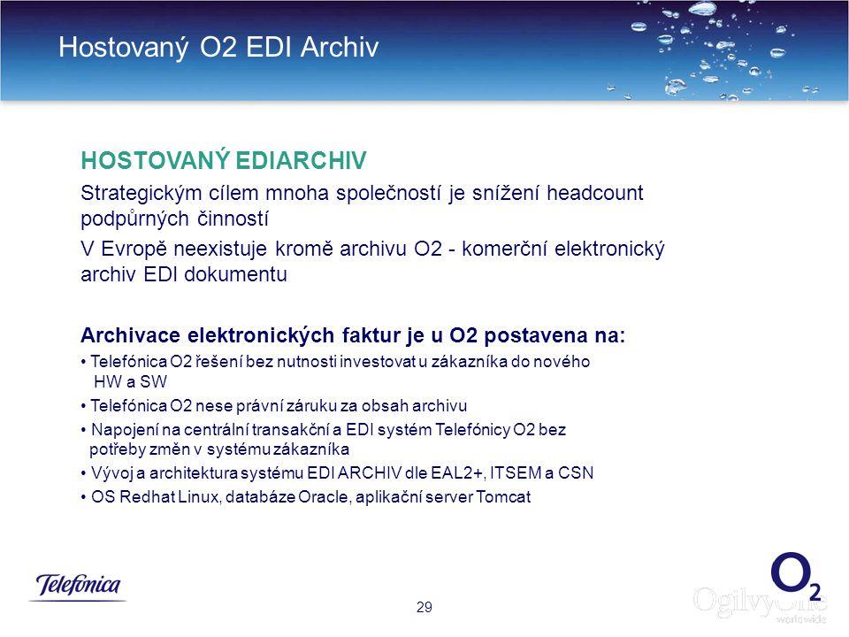32 Hostovaný O2 EDI Archiv 29 HOSTOVANÝ EDIARCHIV Strategickým cílem mnoha společností je snížení headcount podpůrných činností V Evropě neexistuje kromě archivu O2 - komerční elektronický archiv EDI dokumentu Archivace elektronických faktur je u O2 postavena na: Telefónica O2 řešení bez nutnosti investovat u zákazníka do nového HW a SW Telefónica O2 nese právní záruku za obsah archivu Napojení na centrální transakční a EDI systém Telefónicy O2 bez potřeby změn v systému zákazníka Vývoj a architektura systému EDI ARCHIV dle EAL2+, ITSEM a CSN OS Redhat Linux, databáze Oracle, aplikační server Tomcat