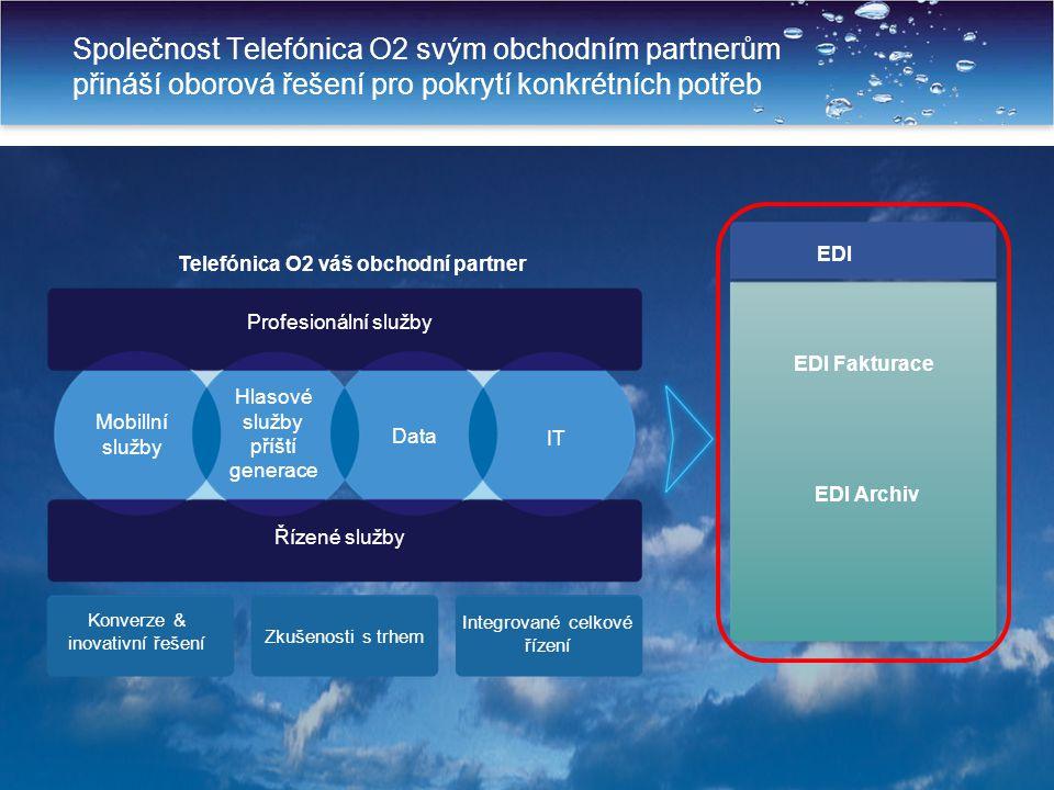 5 Společnost Telefónica O2 svým obchodním partnerům přináší oborová řešení pro pokrytí konkrétních potřeb Fixní a mobilní hlas Fixní a mobilní data EDI EDI Fakturace EDI Archiv Telefónica O2 váš obchodní partner Konverze & inovativní řešení Zkušenosti s trhem Integrované celkové řízení Mobillní služby Hlasové služby příští generace Data IT Řízené služby Profesionální služby