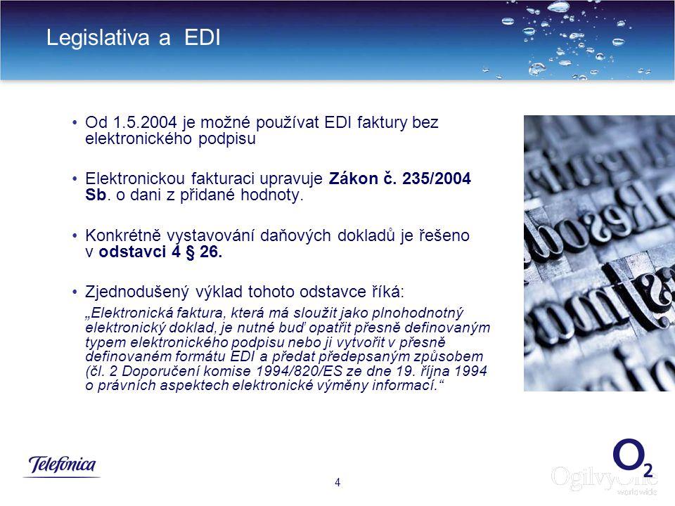 7 Legislativa a EDI 4 Od 1.5.2004 je možné používat EDI faktury bez elektronického podpisu Elektronickou fakturaci upravuje Zákon č.