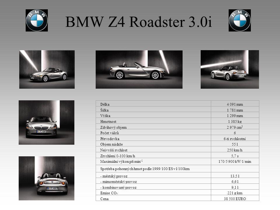 BMW Z4 Roadster 3.0i Délka4 091 mm Šířka1 781 mm Výška1 299 mm Hmotnost1 385 kg Zdvihový objem2 979 cm 3 Počet válců6 Převodovka6-ti rychlostní Objem nádrže55 l Nejvyšší rychlost250 km/h Zrychlení 0-100 km/h5,7 s Maximální výkon při min -1 170/5 900 kW/1/min Spotřeba pohonných hmot podle 1999/100/ES v l/100km - městský provoz13,5 l - mimoměstský provoz6,6 l - kombinovaný provoz9,1 l Emise CO 2 221 g/km Cena38 500 EURO