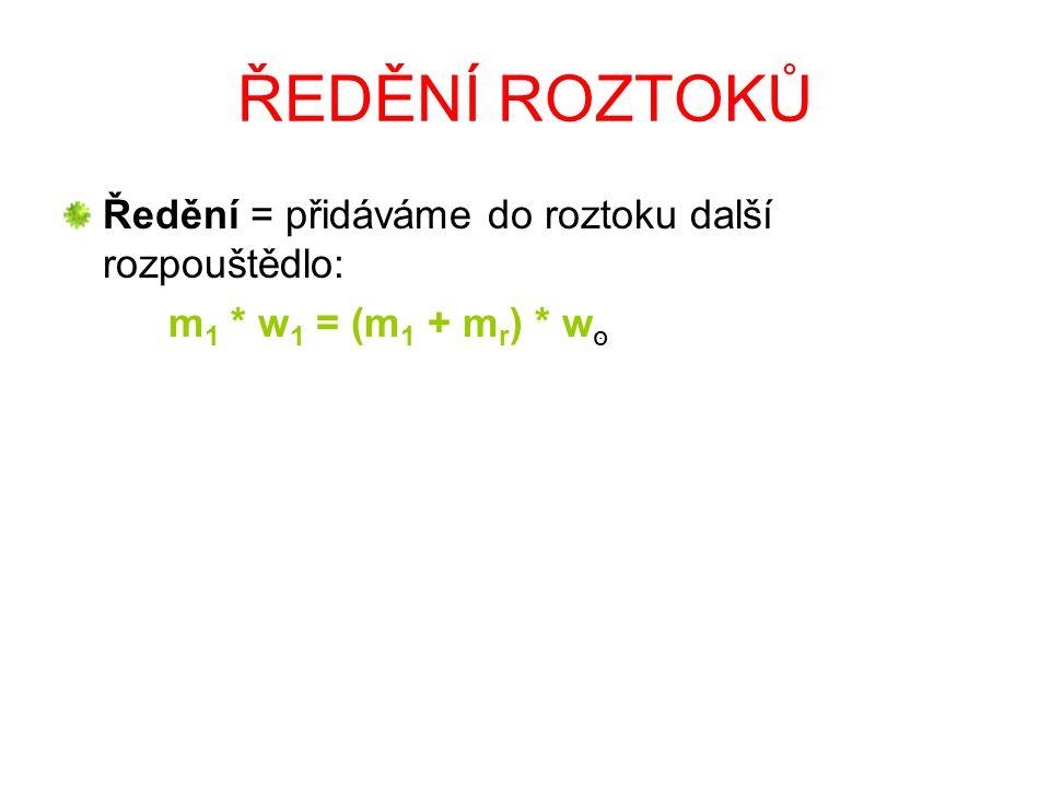 ŘEDĚNÍ ROZTOKŮ Ředění = přidáváme do roztoku další rozpouštědlo: m 1 * w 1 = (m 1 + m r ) * w סּ