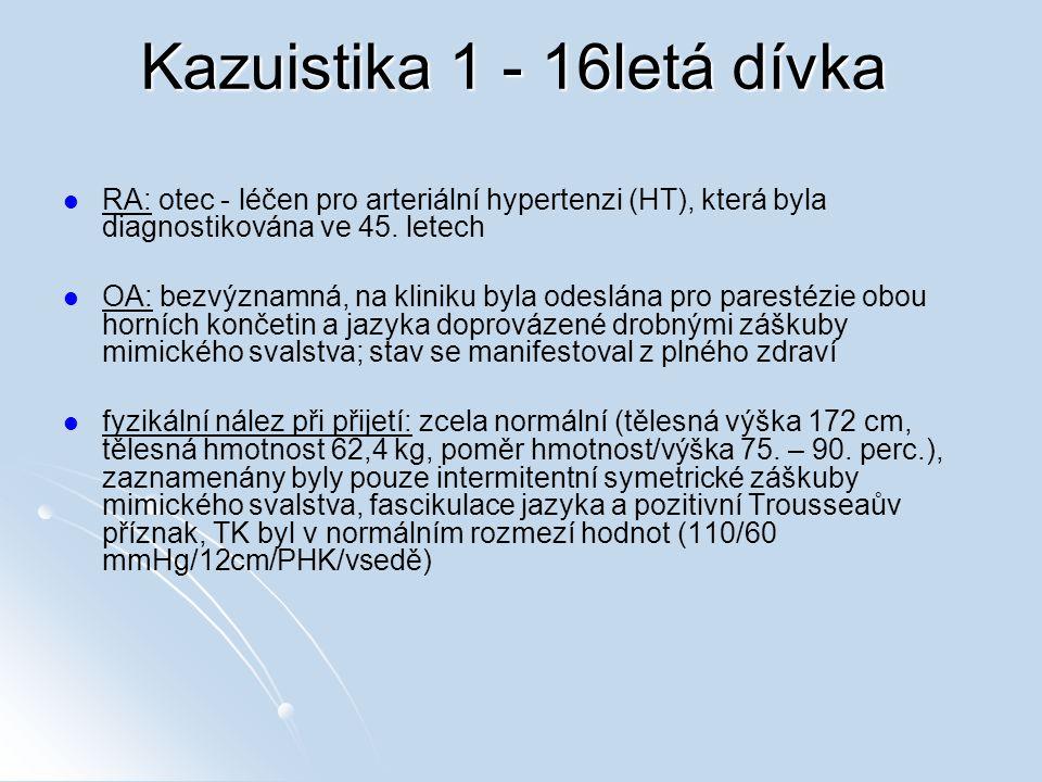 Kazuistika 1 - 16letá dívka RA: otec - léčen pro arteriální hypertenzi (HT), která byla diagnostikována ve 45.