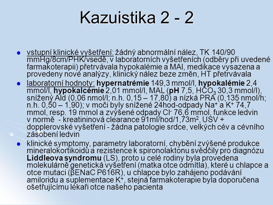 Kazuistika 2 - 2 vstupní klinické vyšetření: žádný abnormální nález, TK 140/90 mmHg/8cm/PHK/vsedě, v laboratorních vyšetřeních (odběry při uvedené farmakoterapii) přetrvávala hypokalémie a MAl, medikace vysazena a provedeny nové analýzy, klinický nález beze změn, HT přetrvávala laboratorní hodnoty: hypernatrémie 149,3 mmol/l, hypokalémie 2,4 mmol/l, hypokalcémie 2,01 mmol/l, MAL (pH 7,5, HCO 3 30,3 mmol/l), snížený Ald (0,06 nmol/l; n.h.