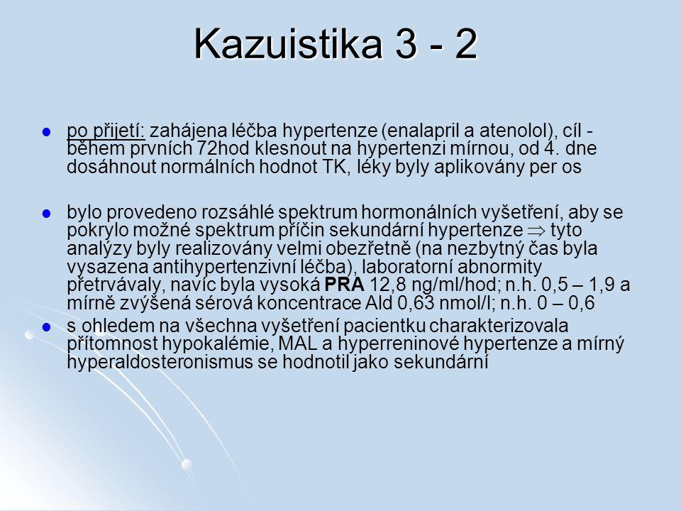 Kazuistika 3 - 2 po přijetí: zahájena léčba hypertenze (enalapril a atenolol), cíl - během prvních 72hod klesnout na hypertenzi mírnou, od 4. dne dosá