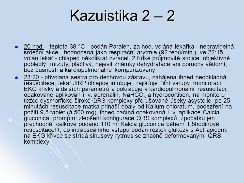Kazuistika 2 – 2 20 hod. - teplota 38 °C - podán Paralen, za hod. volána lékařka - nepravidelná srdeční akce - hodnocena jako respirační arytmie (92 t