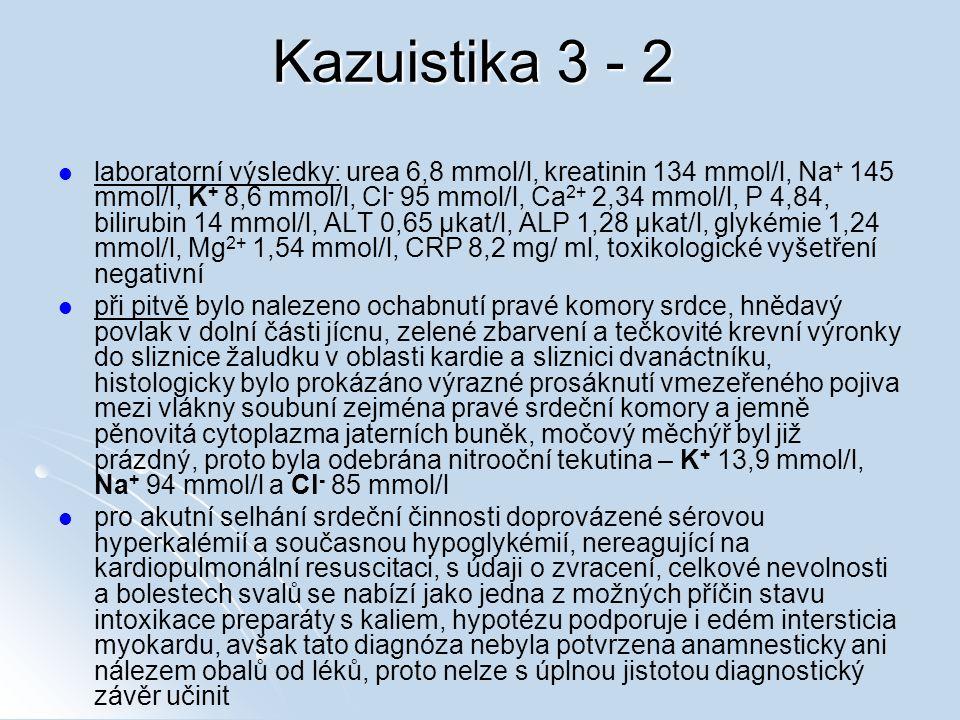 Kazuistika 3 - 2 laboratorní výsledky: urea 6,8 mmol/l, kreatinin 134 mmol/l, Na + 145 mmol/l, K + 8,6 mmol/l, Cl - 95 mmol/l, Ca 2+ 2,34 mmol/l, P 4,84, bilirubin 14 mmol/l, ALT 0,65 μkat/l, ALP 1,28 μkat/l, glykémie 1,24 mmol/l, Mg 2+ 1,54 mmol/l, CRP 8,2 mg/ ml, toxikologické vyšetření negativní při pitvě bylo nalezeno ochabnutí pravé komory srdce, hnědavý povlak v dolní části jícnu, zelené zbarvení a tečkovité krevní výronky do sliznice žaludku v oblasti kardie a sliznici dvanáctníku, histologicky bylo prokázáno výrazné prosáknutí vmezeřeného pojiva mezi vlákny soubuní zejména pravé srdeční komory a jemně pěnovitá cytoplazma jaterních buněk, močový měchýř byl již prázdný, proto byla odebrána nitrooční tekutina – K + 13,9 mmol/l, Na + 94 mmol/l a Cl - 85 mmol/l pro akutní selhání srdeční činnosti doprovázené sérovou hyperkalémií a současnou hypoglykémií, nereagující na kardiopulmonální resuscitaci, s údaji o zvracení, celkové nevolnosti a bolestech svalů se nabízí jako jedna z možných příčin stavu intoxikace preparáty s kaliem, hypotézu podporuje i edém intersticia myokardu, avšak tato diagnóza nebyla potvrzena anamnesticky ani nálezem obalů od léků, proto nelze s úplnou jistotou diagnostický závěr učinit