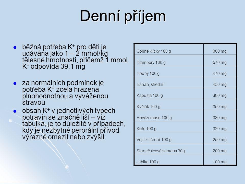 Denní příjem běžná potřeba K + pro děti je udávána jako 1 – 2 mmol/kg tělesné hmotnosti, přičemž 1 mmol K + odpovídá 39,1 mg za normálních podmínek je