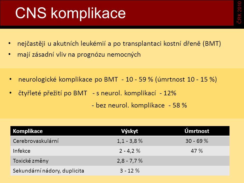a CNS komplikace ČRK 2010 nejčastěji u akutních leukémií a po transplantaci kostní dřeně (BMT) mají zásadní vliv na prognózu nemocných neurologické komplikace po BMT - 10 - 59 % (úmrtnost 10 - 15 %) čtyřleté přežití po BMT - s neurol.