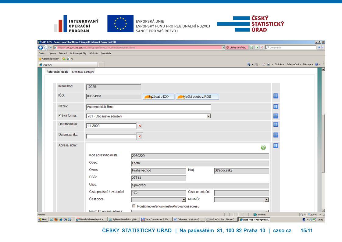 ČESKÝ STATISTICKÝ ÚŘAD | Na padesátém 81, 100 82 Praha 10 | czso.cz15/11