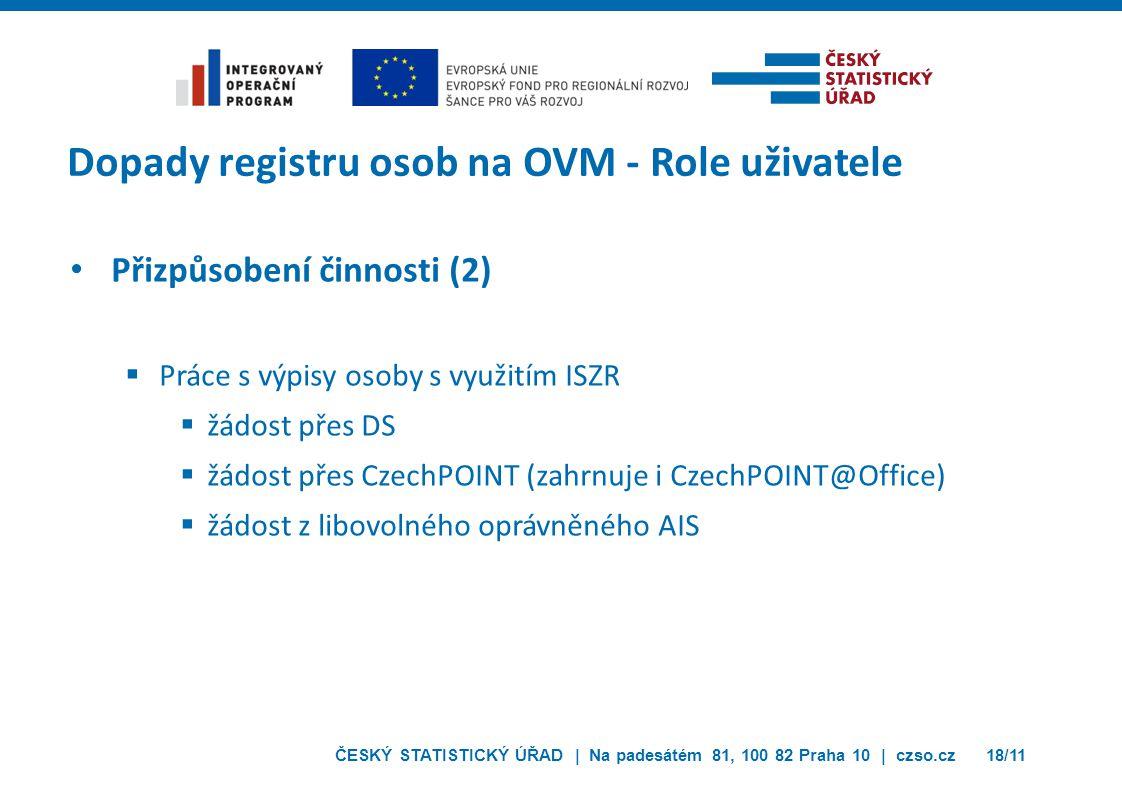 ČESKÝ STATISTICKÝ ÚŘAD | Na padesátém 81, 100 82 Praha 10 | czso.cz18/11 Dopady registru osob na OVM - Role uživatele Přizpůsobení činnosti (2)  Prác