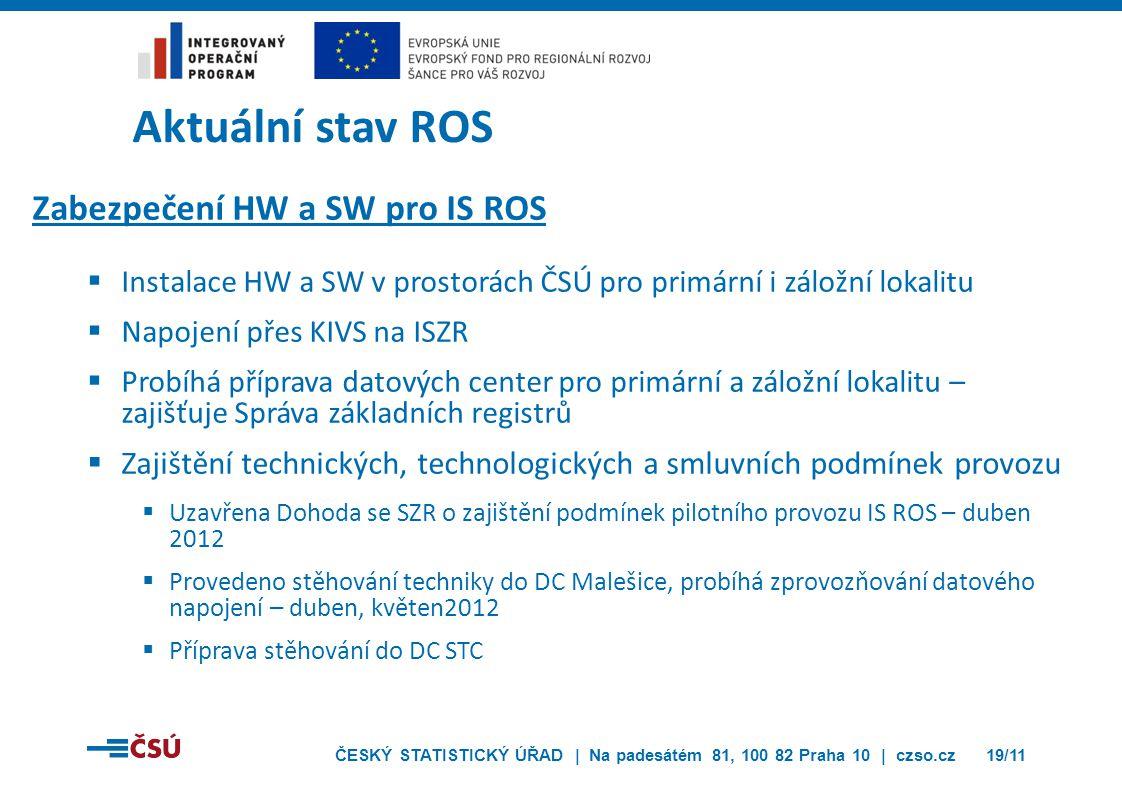 ČESKÝ STATISTICKÝ ÚŘAD | Na padesátém 81, 100 82 Praha 10 | czso.cz19/11 Aktuální stav ROS Zabezpečení HW a SW pro IS ROS  Instalace HW a SW v prosto