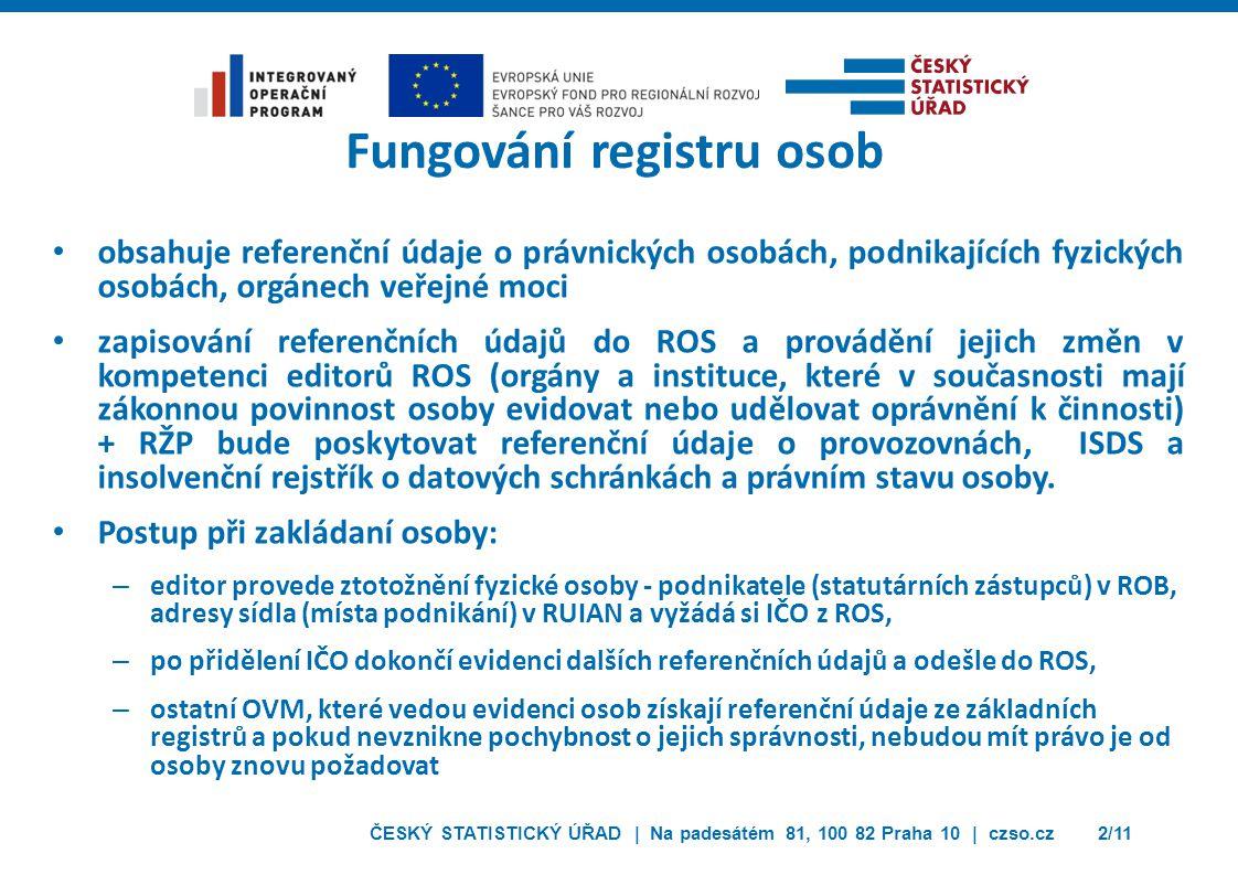 ČESKÝ STATISTICKÝ ÚŘAD | Na padesátém 81, 100 82 Praha 10 | czso.cz2/11 Fungování registru osob obsahuje referenční údaje o právnických osobách, podni