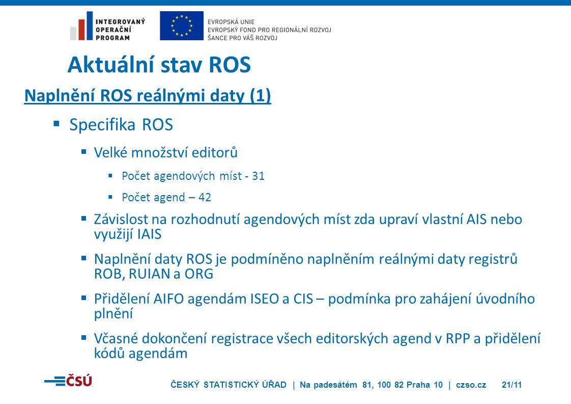 ČESKÝ STATISTICKÝ ÚŘAD | Na padesátém 81, 100 82 Praha 10 | czso.cz21/11 Aktuální stav ROS Naplnění ROS reálnými daty (1)  Specifika ROS  Velké množ