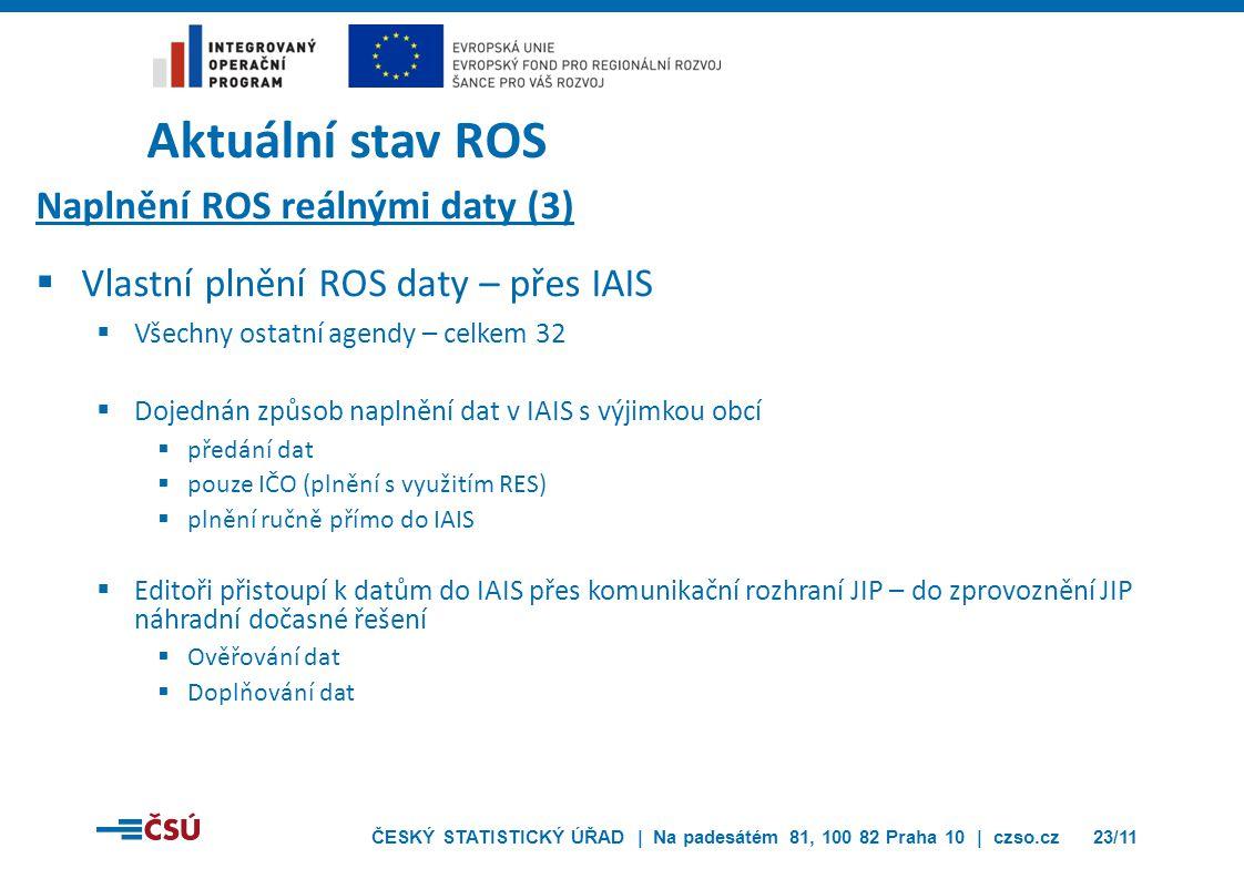 ČESKÝ STATISTICKÝ ÚŘAD | Na padesátém 81, 100 82 Praha 10 | czso.cz23/11 Aktuální stav ROS Naplnění ROS reálnými daty (3)  Vlastní plnění ROS daty –