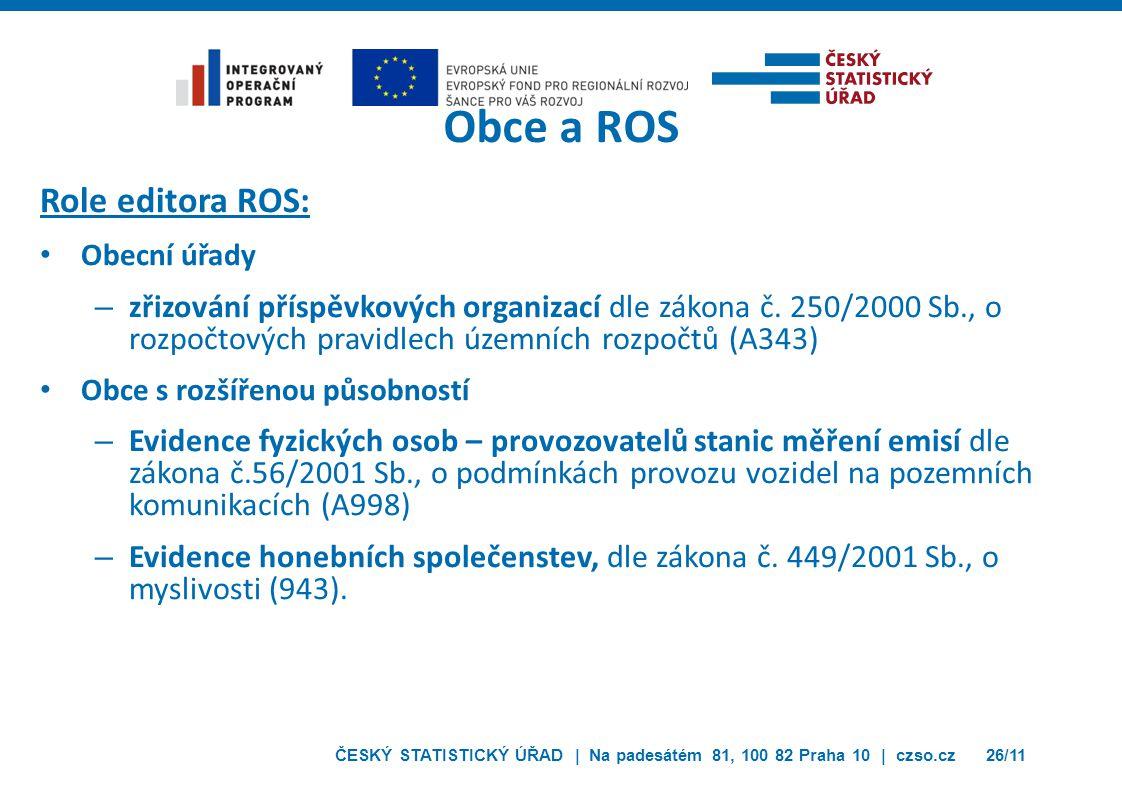 ČESKÝ STATISTICKÝ ÚŘAD | Na padesátém 81, 100 82 Praha 10 | czso.cz26/11 Obce a ROS Role editora ROS: Obecní úřady – zřizování příspěvkových organizac