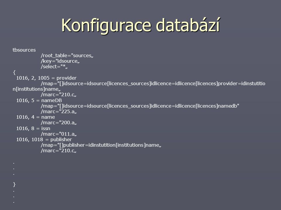 Konfigurace databází tbsources /root_table=