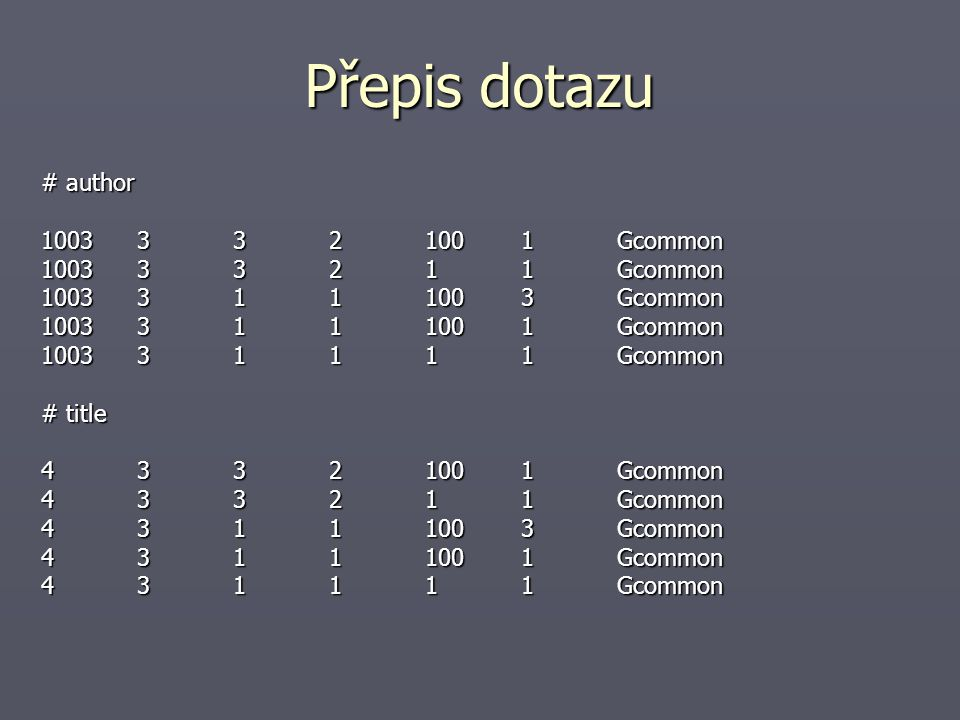 Přepis dotazu 2 # # examples, how to rewrite and further process non-matching query # ?000001=4;2=3;3=3;4=2;5=100;6=1;Gcommon ?000001=4;2=3;3=3;4=0;5=100;6=1 ******Eill_query_modifiers