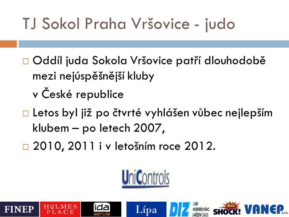 TJ Sokol Praha Vršovice - judo  Oddíl juda Sokola Vršovice patří dlouhodobě mezi nejúspěšnější kluby v České republice  Letos byl již po čtvrté vyhl