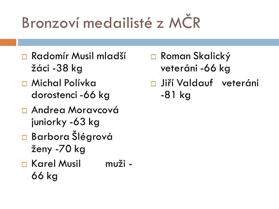 Bronzoví medailisté z MČR  Radomír Musil mladší žáci -38 kg  Michal Polívka dorostenci -66 kg  Andrea Moravcová juniorky -63 kg  Barbora Šlégrová